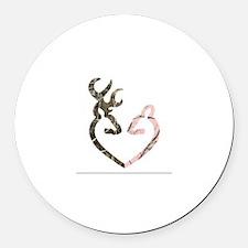 buck nd doe heart Round Car Magnet