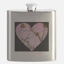 pink camo heart Flask