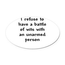 Battle of wits.png Oval Car Magnet