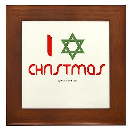 I love Christmas (star of david) Framed Tile