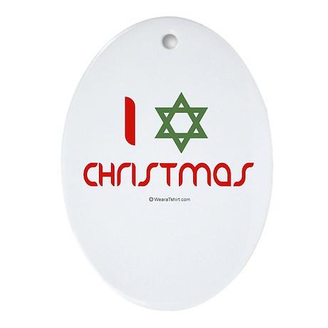 I love Christmas (star of david) Oval Ornament