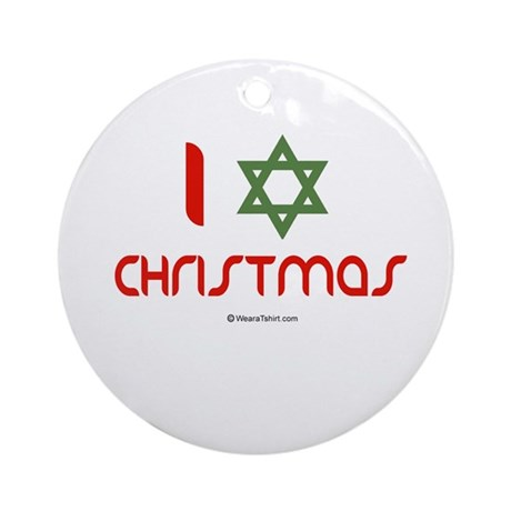 I love Christmas (star of david) Ornament (Round)