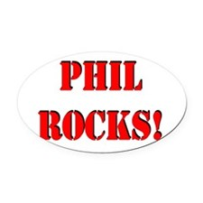 Phil rocks red.png Oval Car Magnet