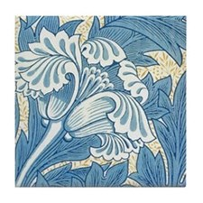 Morris Tulip Blue design Tile Coaster