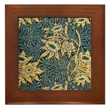 Morris Tulip and willow Framed Tile