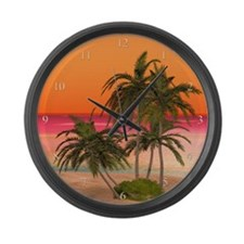 Dreamy Desert Island 2 Large Wall Clock