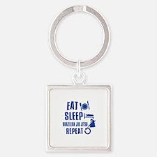 Eat sleep Brazilian Jiu Jitsu Square Keychain