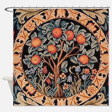 Orange Tree of Life Shower Curtain