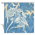 Morris Tulip Blue design Shower Curtain