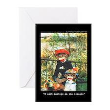2 Sock Monkeys Greeting Cards (Pk of 10)