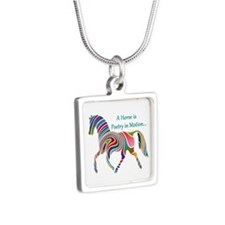 Rainbow Horse Silver Square Necklace