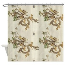 Golden Asian Dragons Shower Curtain