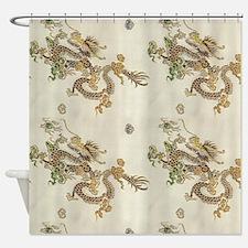 Golden Asian Dragons Shower Curtain