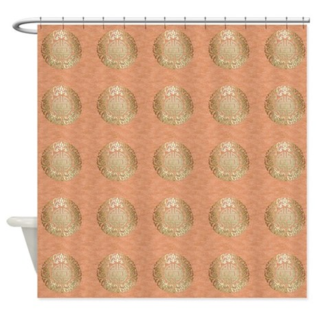 Asian Gold Symbol On Pink Shower Curtain By GraphicAllusions