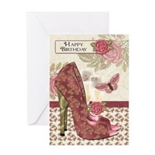 Champagne And Shoes Butterfly And Rose Birthday Gr