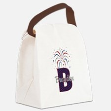 4th of July Personalized initial B Canvas Lunch Ba