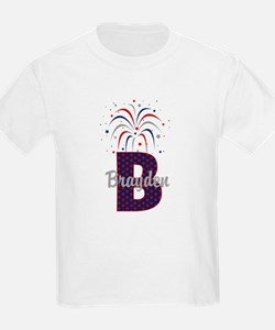 4th of July Personalized initial B T-Shirt