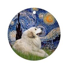 Starry Night Great Pyrennes (#1) Ornament (Round)
