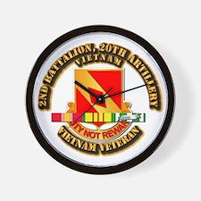 Army - 2-20th FA w VN SVC Wall Clock
