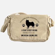 American Eskimo Mommy designs Messenger Bag