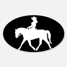 Cute Cowgirl on Horse Rectangle Decal
