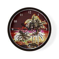 Neon Island Wall Clock