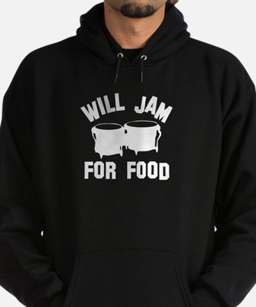 Will jam or play the Bongo for food Hoodie (dark)