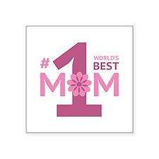 """Nr 1 Mom Square Sticker 3"""" x 3"""""""