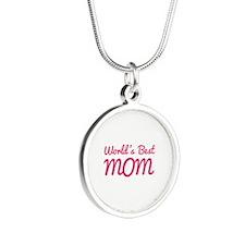 World's Best Mom Silver Round Necklace
