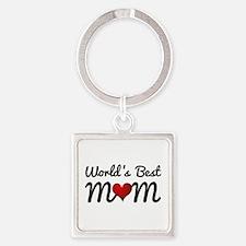 World's Best Mom Square Keychain