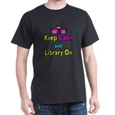 Crown Sunglasses Keep Calm And Library On T-Shirt