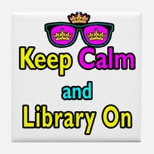 Crown Sunglasses Keep Calm And Library On Tile Coa