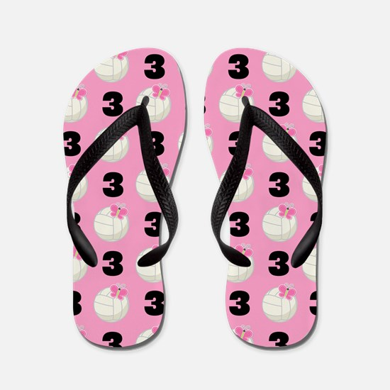 Volleyball Player Number 3 Flip Flops