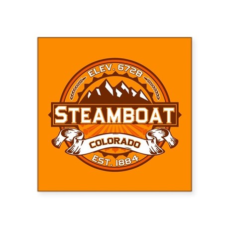 "Steamboat Tangerine Square Sticker 3"" x 3"""