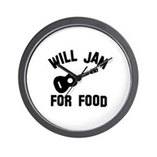 Will jam or play the Ukelele for food Wall Clock