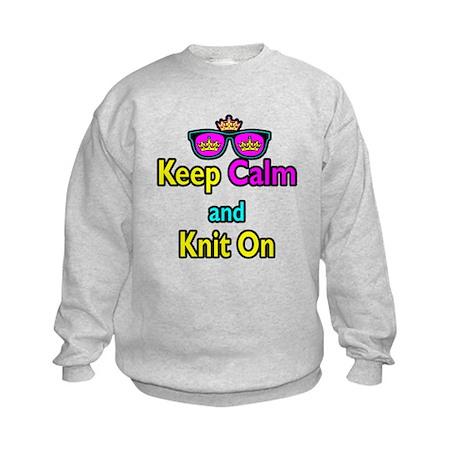 Crown Sunglasses Keep Calm And Knit On Kids Sweats