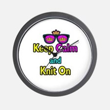 Crown Sunglasses Keep Calm And Knit On Wall Clock