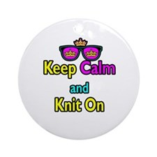 Crown Sunglasses Keep Calm And Knit On Ornament (R