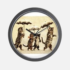 Cats, Vintage Painting Wall Clock