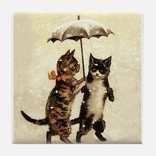 Cats, Vintage Painting Tile Coaster