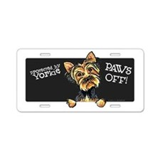 Yorkie Protected PAWS OFF Aluminum License Plate