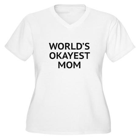World's Okayest Mom Women's Plus Size V-Neck T-Shi