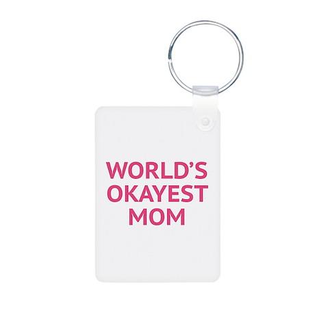 World's Okayest Mom Aluminum Photo Keychain
