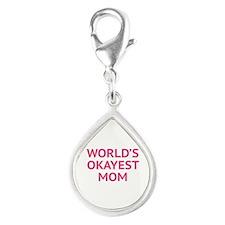 World's Okayest Mom Silver Teardrop Charm