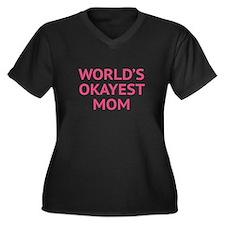 World's Okayest Mom Women's Plus Size V-Neck Dark