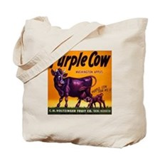Purple cow apples Vintage sign Tote Bag
