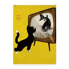 Cat, Fish, Vintage Poster 5'x7'Area Rug