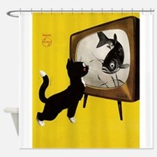 Cat, Fish, Vintage Poster Shower Curtain
