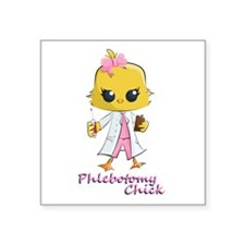 "Phlebotomy Chick Square Sticker 3"" x 3"""