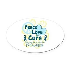 Teal Peace Love Cure Oval Car Magnet